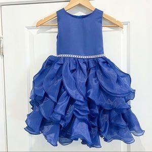 NWT Chic Baby Satin Organza Ruffled Party Dress